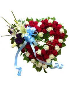 Sympathy Roses in Heart Shape