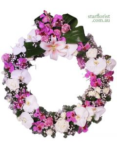 Large White and Purple Wreath