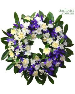 Sympathy Wreath White and Blue - Large
